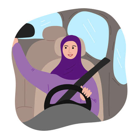 Muslim woman in traditional purple hijab with a safety belt driving a car and corrects rearview mirror. Vector illustration in flat cartoon style. 向量圖像