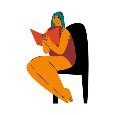 A blue-haired plump woman in red swimsuit sitting on a beach with a book. Vector illustration in flat cartoon style Illustration