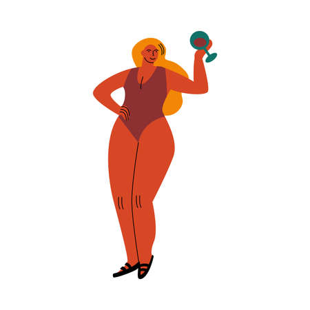 A blond-haired plump woman in a red swimsuit standing on a beach with a glass of wine. Vector illustration in flat cartoon style