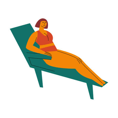 A brown-haired plump woman in red swimsuit sunbathing on the deck chair. Vector illustration in flat cartoon style