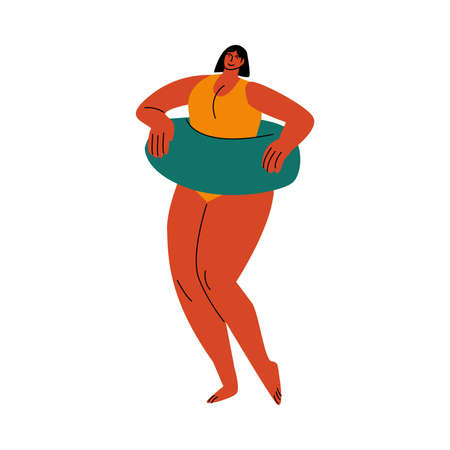A black-haired plump woman in a yellow swimsuit standing on a beach with a blue floating rubber ring. Vector illustration in flat cartoon style