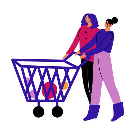 A happy lesbian couple of women in casual clothes with a cart of products in the store. Vector illustration in cartoon style.