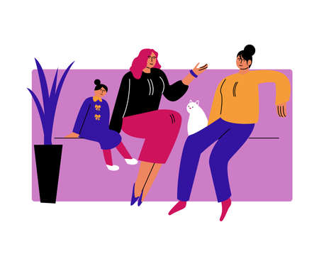 A happy lesbian couple of women sitting on the couch with the daughter. Vector illustration in cartoon style.