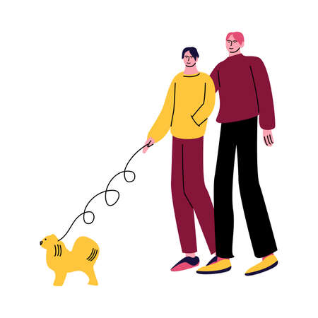 A happy gay couple of men in casual clothes walking dog and hugging. Vector illustration in cartoon style. Vectores
