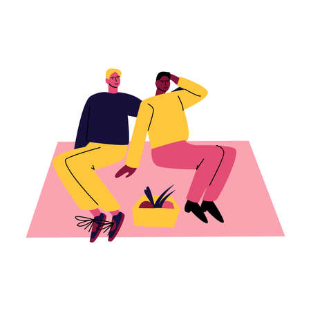A happy gay couple of men in casual clothes sitting on the rug and hugging. Vector illustration in cartoon style.