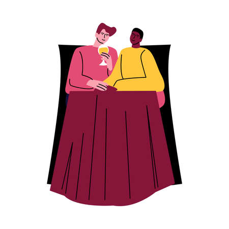 A happy gay couple of men in casual clothes sitting at the table in chairs. Vector illustration in cartoon style.