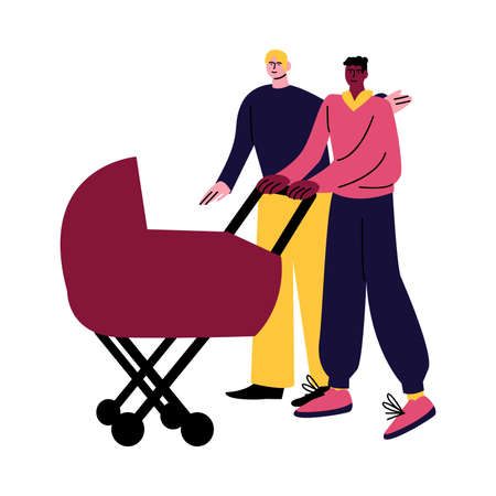 A happy gay couple of men in casual clothes walking with a stroller. Vector illustration in cartoon style. Vectores