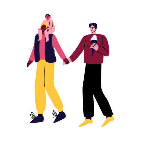 A happy gay couple of men in casual clothes walking with a little boy on shoulders. Vector illustration in cartoon style.