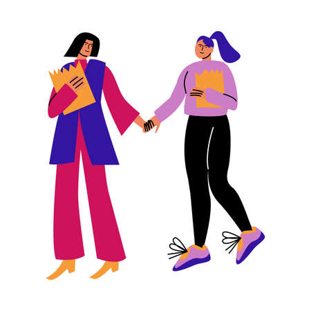 A happy couple of women in casual clothes with purchases holding hands while walking. Vector illustration in cartoon style.