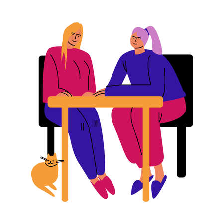 A happy lesbian couple of women sitting at the table in chairs. Vector illustration in cartoon style.