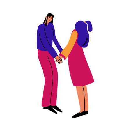 A happy couple of women standing in casual clothes and holding hands. Vector illustration in cartoon style.