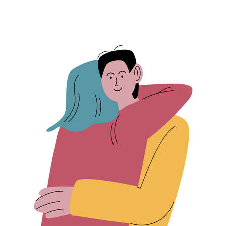 Blue-haired woman in yellow shirt hugging man lovingly. Vector illustration in flat cartoon style.