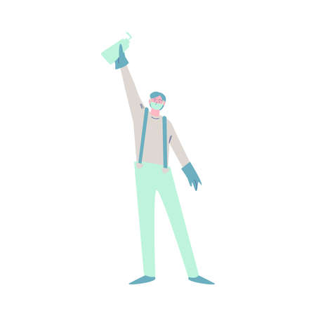 A man wearing a protective mask holding up antibacterial hand sanitizer. Vector illustration in cartoon style. Vectores