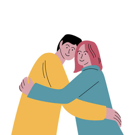 Cute happy smiling couple man and woman hugging lovingly. Vector illustration in flat cartoon style. Stock Illustratie