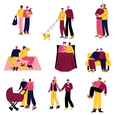Set of happy couples in different life situations. Vector illustration in the flat cartoon style.