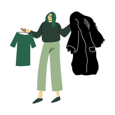 Eco volunteer woman in green pants stands with the eco fur coat and a green t-shirt. Vector illustration in cartoon style. 向量圖像