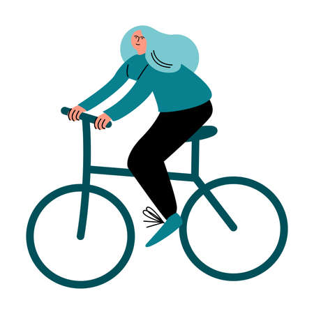 Happy smiling girl in black pants riding on an ecological safe bicycle. Vector illustration in cartoon style. Векторная Иллюстрация