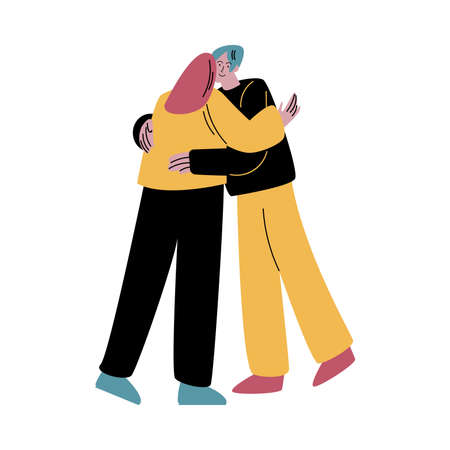 A red-haired woman in black jeans hugging man lovingly. Vector illustration in flat cartoon style.