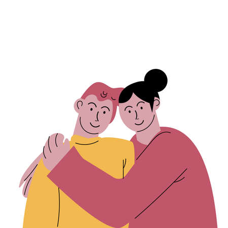 Cute happy smiling couple man and black-haired woman hugging tenderly. Vector illustration in flat cartoon style.
