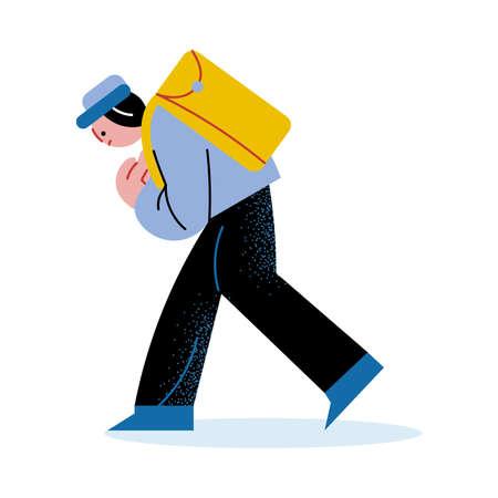 Bullied afraid boy walking home from school Illustration