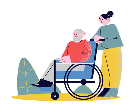 Young woman rolling whellchair helping elderly man to move outdoors
