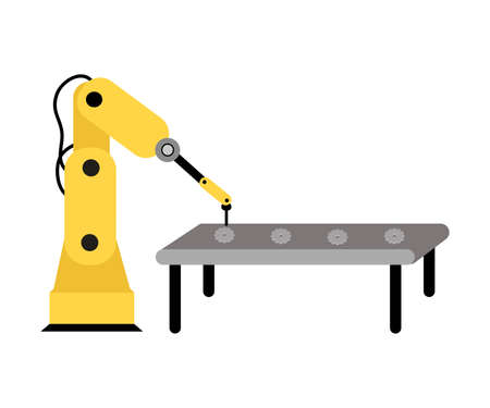 Hand drawn yellow mechanical machine arm working with steel details production in factory over white background vector illustration. Automation of production concept