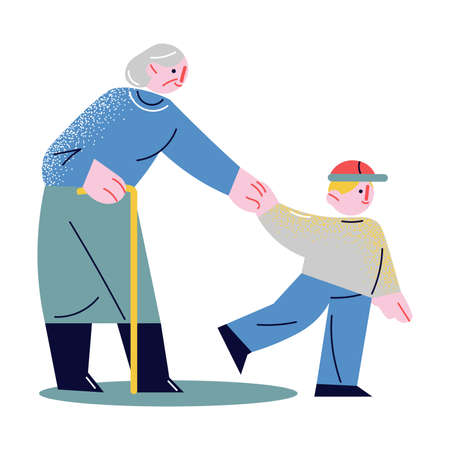 Hand drawn small boy holding elderly woman by hand and helping her to cross road over white background vector illustration. Care of elderly people concept
