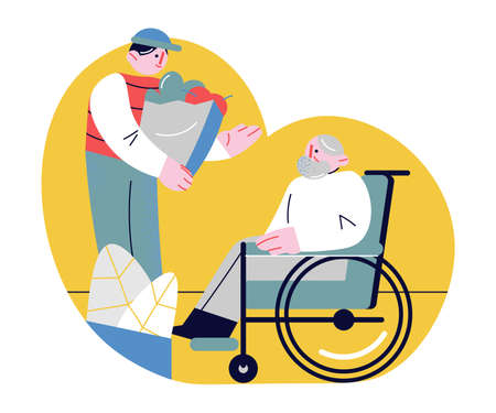 Hand drawn young man bringing and delivering food in bag and helping elderly man in wheelchair over white background vector illustration. Care of elderly people concept Stock Illustratie
