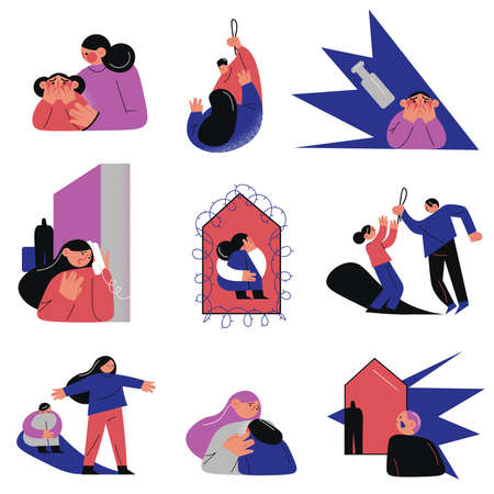 Set of isolated hand drawn parents punishing children at home and doing domestic violence over white background vector illustration. Home violence concept