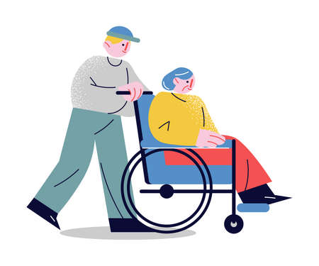 Hand drawn young man rolling whellchair helping elderly woman to move over white background vector illustration. Care of elderly people concept Stock Illustratie