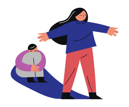 Hand drawn mother protecting with hands sitting on floor child victim of domestic violence from father over white background vector illustration. Home violence concept