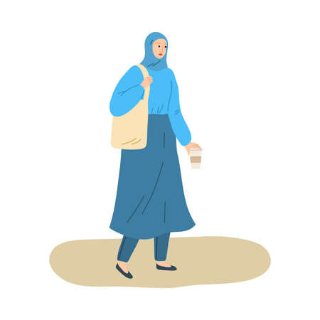 Hand drawn young smiling muslim woman in hijab and traditional costume walking with coffee outdoors over white background vector illustration. Modern muslim woman concept