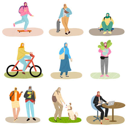 Set of isolated hand drawn muslim women doing different things in everyday life over white background vector illustration. Modern muslim woman concept