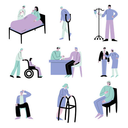 Ill or disabled people patients in hospitals and clinics vector illustration