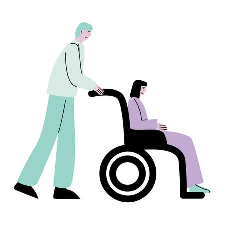 Young doctor wheeling disabled woman in wheelchair in hospital 矢量图像