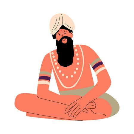 Indian man with beard in turban on head sitting and enjoying holiday