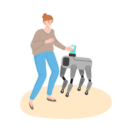 Young smiling woman playing with metal robot dog at home
