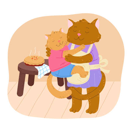 Brown baby cat hanging on mom with eyes closed and birthday cake behind
