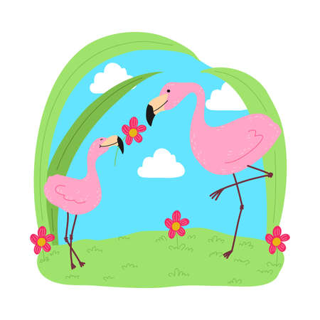 Baby flamingo playing with mother with flower on grass Ilustração