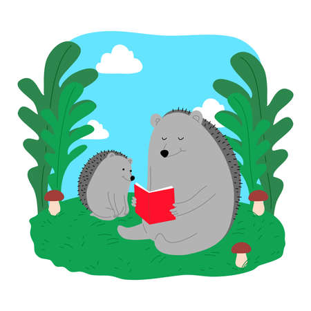 Grey baby hedgehog sitting and reading on grass with parent