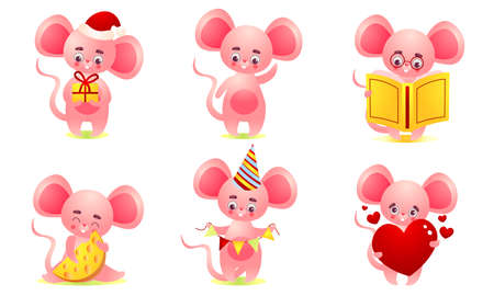 Set of isolated hand drawn pink cute baby mouse doing casual things and expressing positive emotions over white background vector illustration. Happy children book illustrations concept Foto de archivo - 150555686