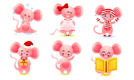 Pink cute baby mouse doing casual things and expressing emotions Vectores