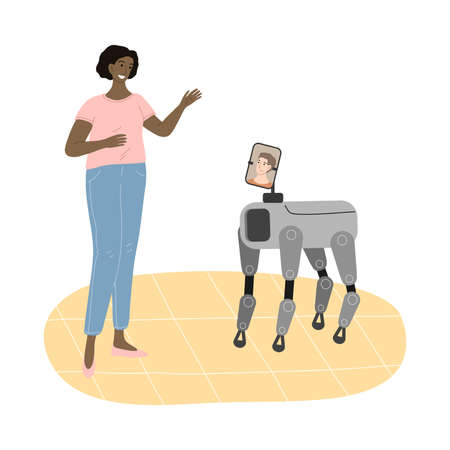 Robot dog showing picture of son to smiling woman Illustration