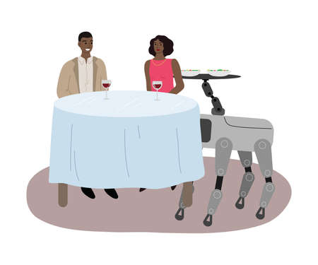 Robot dog serving drinks and food in restaurant for young couple Illustration