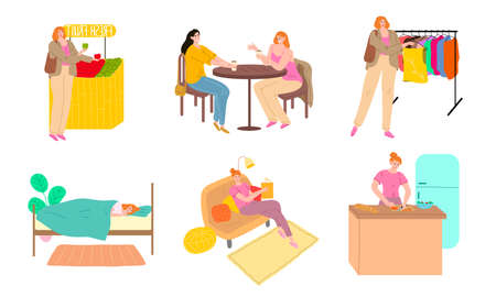 Set of scenes from ordinary womans days rituals vector illustration