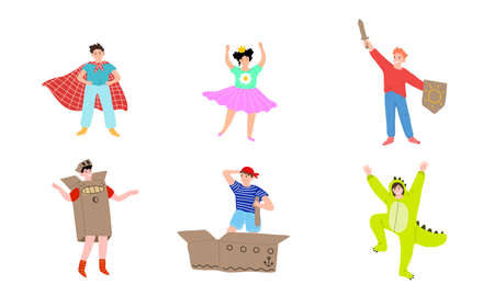 Set of children performing in different costumes on stage