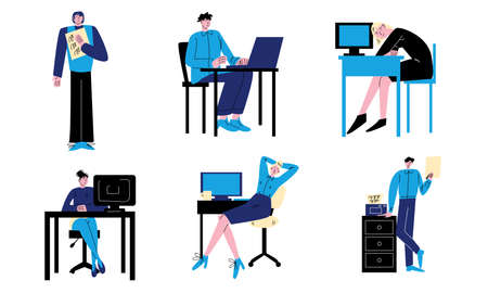 Young people workers working in office with computers and documents vector illustration