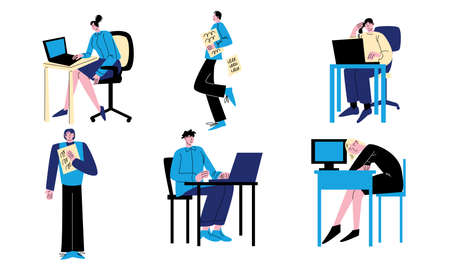 People working in office with computers and documents at their workplaces Stock Illustratie