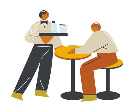 Young waiter serving drinks and food to man guest on open veranda Ilustración de vector