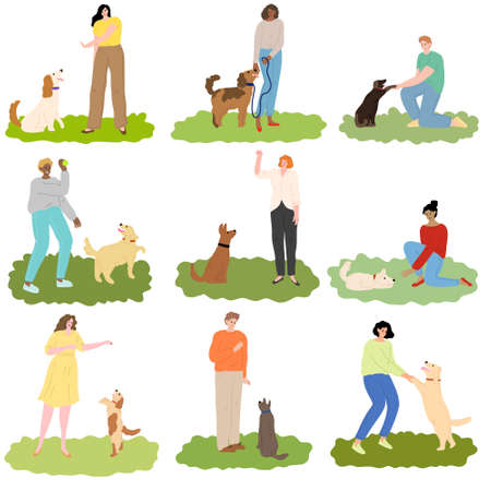 Set of people training different breeds of dogs outdoor on grass